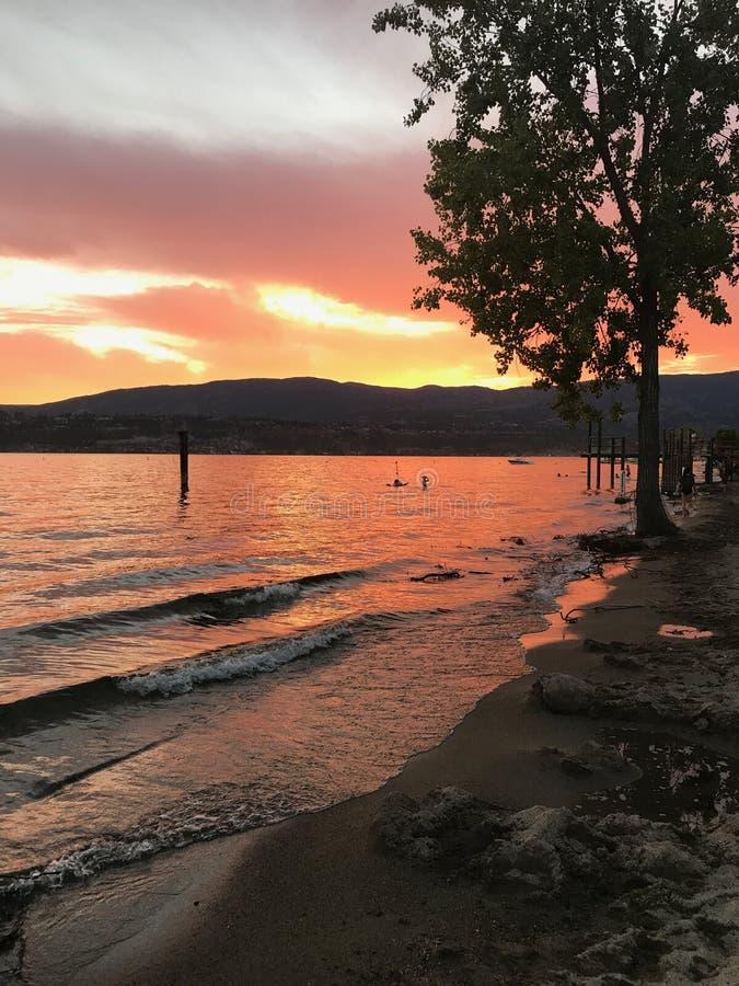 Zadziwiający zmierzch na Okanagan jeziorze fotografia stock