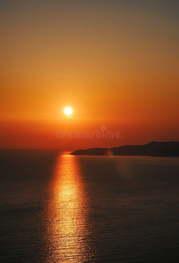 Zadziwiający zmierzch nad Adriatyckim morzem, Montenegro zdjęcia stock