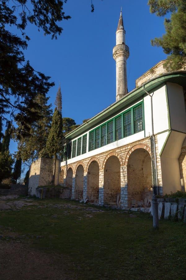 Zadziwiający zmierzchu widok Aslan Pasha meczet w kasztelu miasto Ioannina, Epirus, Grecja zdjęcia stock