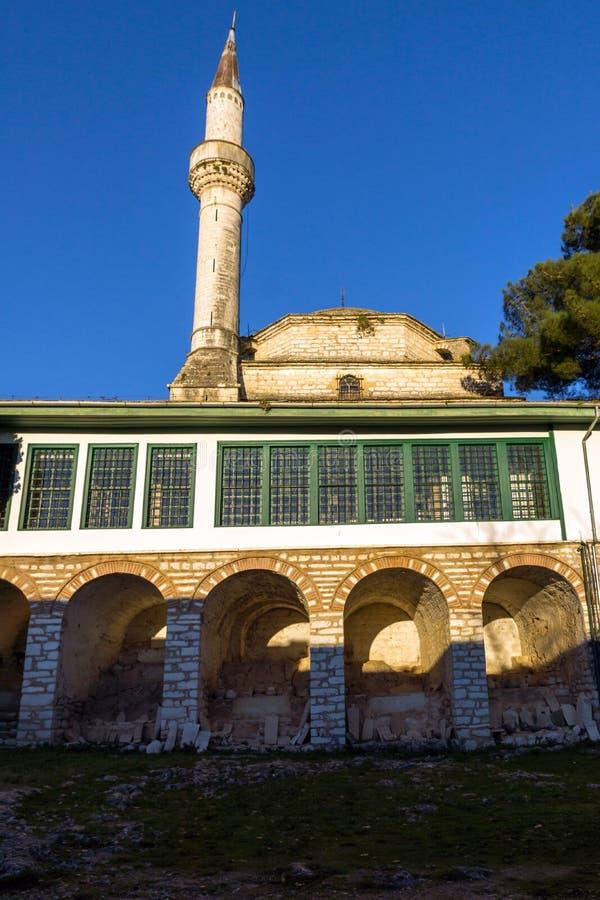Zadziwiający zmierzchu widok Aslan Pasha meczet w kasztelu miasto Ioannina, Epirus, Grecja fotografia royalty free