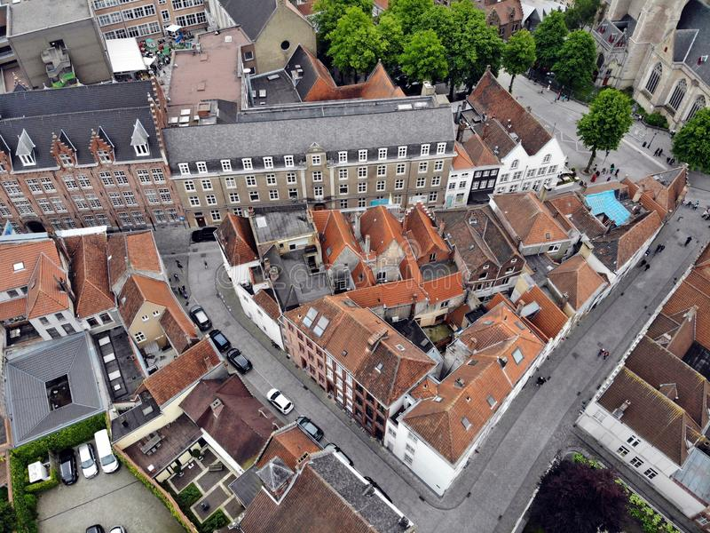 Zadziwiaj?cy widok z g?ry W ten sposób piękny i imponująco Brugge Średniowieczna historia wokoło ciebie Musi widzieć dla wszystki obraz royalty free