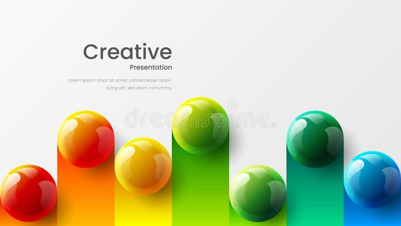 Zadziwiaj?cych abstrakcjonistycznych wektoru 3D kolorowych pi?ek ilustracyjny szablon dla plakata, ulotka, magazyn, czasopismo, b zdjęcie royalty free