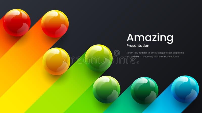 Zadziwiaj?cych abstrakcjonistycznych wektoru 3D kolorowych pi?ek ilustracyjny szablon dla plakata, ulotka, magazyn, czasopismo, b zdjęcia stock