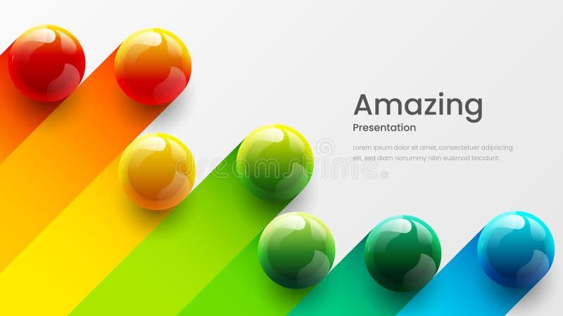 Zadziwiaj?cych abstrakcjonistycznych wektoru 3D kolorowych pi?ek ilustracyjny szablon dla plakata, ulotka, magazyn, czasopismo, b zdjęcie stock