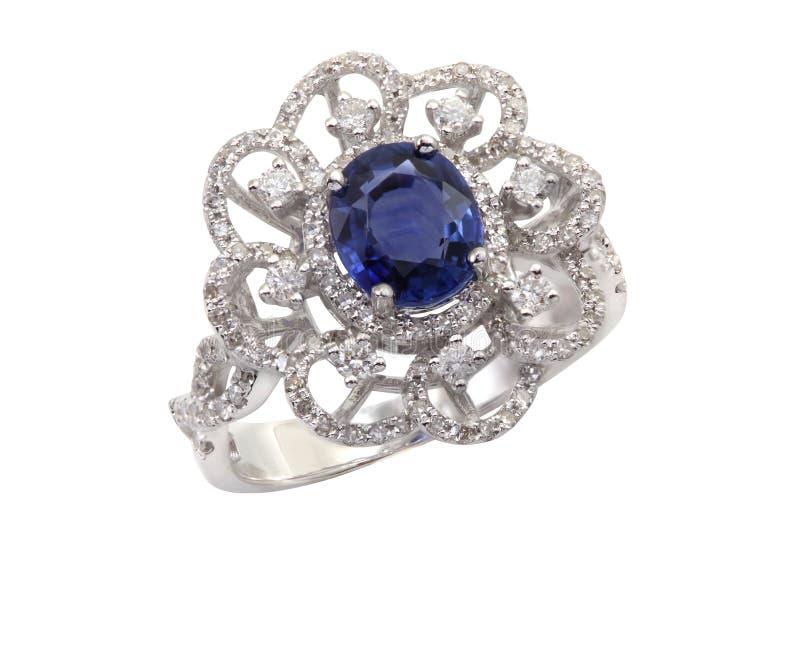 Zafiro y Diamond Ring azules fotografía de archivo
