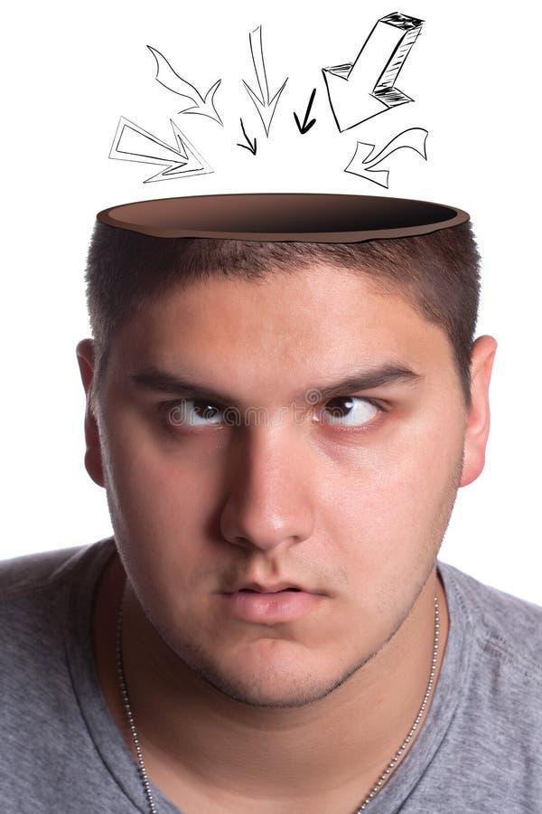 zagłębienia głowy mężczyzna otwierający fotografia stock