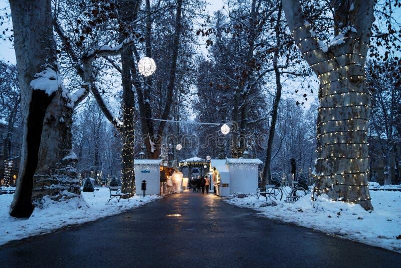 Zagabria, Croazia: 6 gennaio 2016: Mercato di arrivo con i foodstalls nella notte con le luci della decorazione con neve nel parc immagini stock