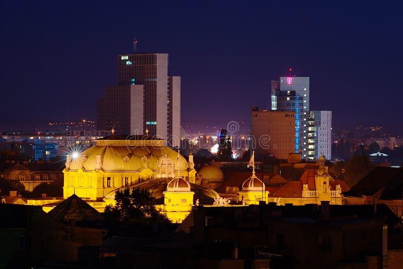 Zagabria di notte fotografie stock libere da diritti