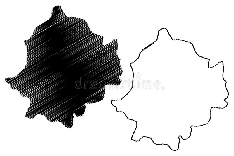 Zaghouan Governorate Governorates of Tunisia, Republic of Tunisia map vector illustration, scribble sketch Zaghouan map.  royalty free illustration