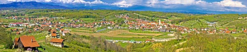 Zagorje green hills mega panorama. Marija Bistrica, Zagorje royalty free stock images