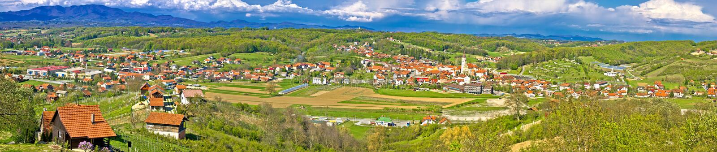 Zagorje green hills mega panorama royalty free stock images