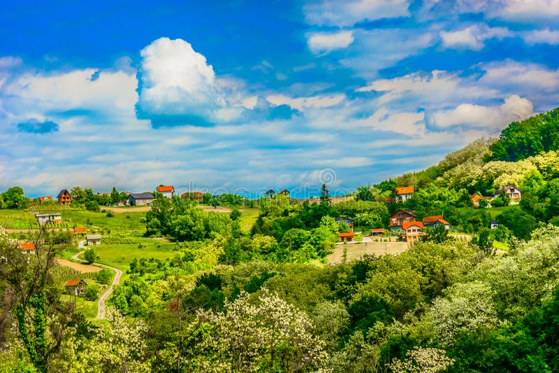 Zagorje hills in Croatia, Europe. Scenic view at colorful landscape in marble Zagorje region, Croatia Europe stock image