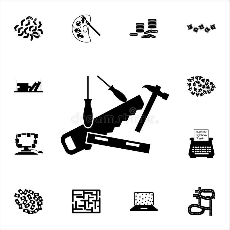 Zagracenie w narzędzie ikonie chaos ikon ogólnoludzki ustawiający dla sieci i wiszącej ozdoby royalty ilustracja