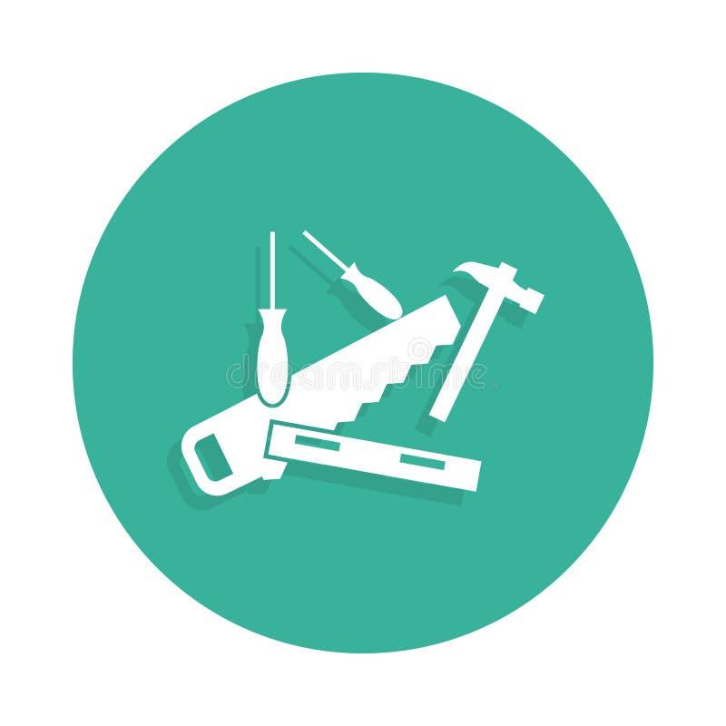 Zagracenie w narzędzie ikonie w odznaka stylu z cieniem ilustracji