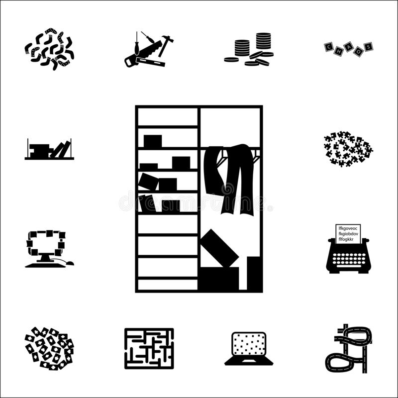 Zagracenie w szafy ikonie chaos ikon ogólnoludzki ustawiający dla sieci i wiszącej ozdoby ilustracja wektor