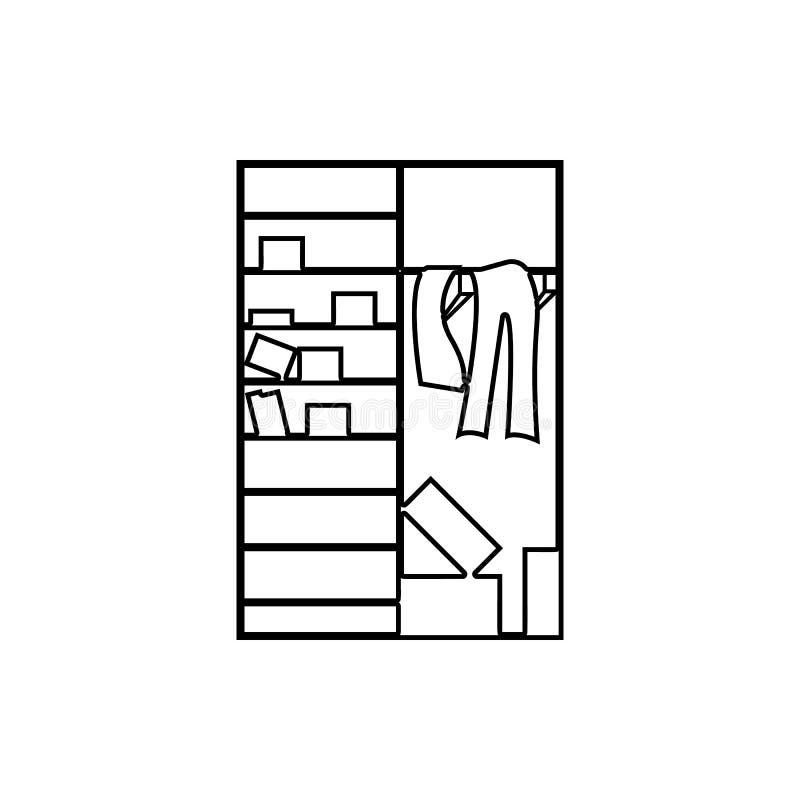 Zagracenie w szafy ikonie Element chaos dla mobilnego pojęcia i sieci apps ikony Cienka kreskowa ikona dla strona internetowa pro ilustracji
