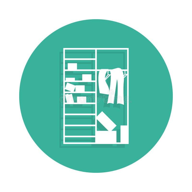 Zagracenie w szafy ikonie w odznaka stylu z cieniem ilustracja wektor