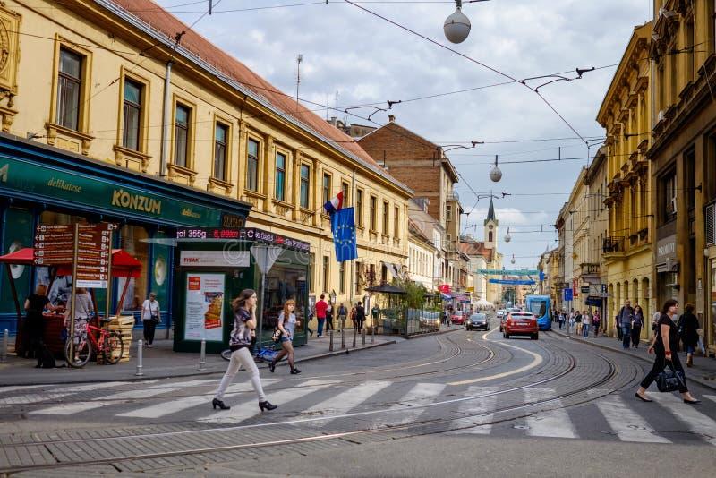Zagreb city centre historic street. Europe touristic travel destination royalty free stock image