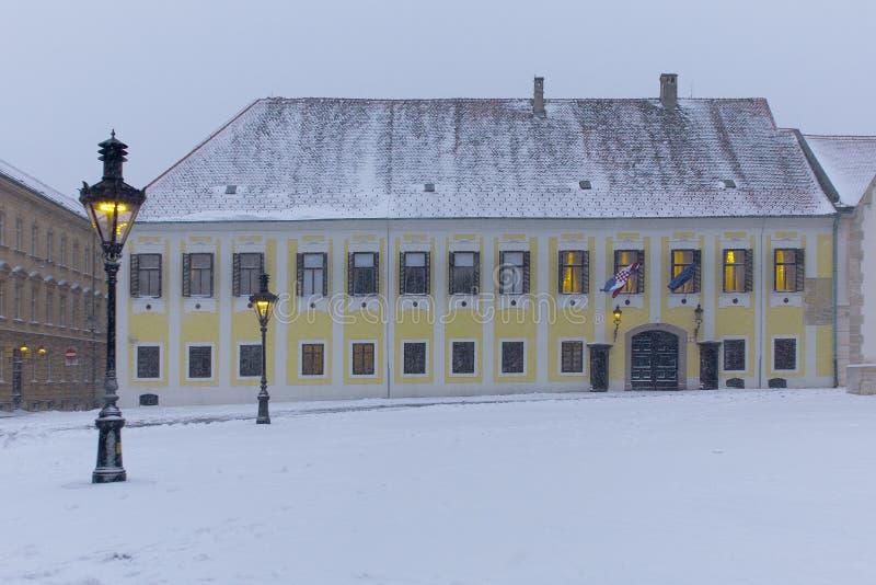 ZAGREB, CROACIA - FEBRERO DE 2015: Primeros ministros oficina croatas en invierno en Zagreb imágenes de archivo libres de regalías