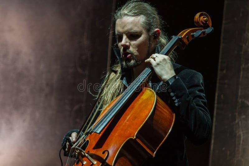 Zagreb, CROATIA – April 3, 2017: Finnish band Apocalyptica playing live at concert in Vatrosav Lisinski hall, Zagreb, Croatia. Finnish band Apocalyptica stock image