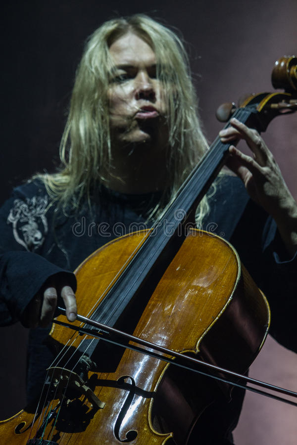 Zagreb, CROATIA – April 3, 2017: Finnish band Apocalyptica playing live at concert in Vatrosav Lisinski hall, Zagreb, Croatia. Finnish band Apocalyptica royalty free stock photos