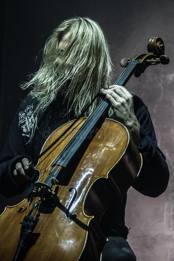 Zagreb, CROATIA – April 3, 2017: Finnish band Apocalyptica playing live at concert in Vatrosav Lisinski hall, Zagreb, Croatia. Finnish band Apocalyptica royalty free stock photography