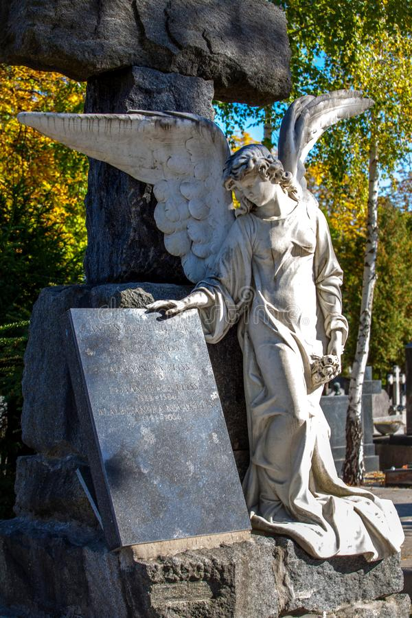 Zagreb, Croatia – October 2018. a monument Angel to the city cemetery during a sunny autumn day royalty free stock photography