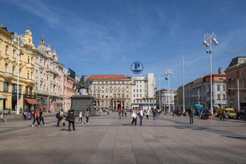 Tourists and locals at Zagreb main square royalty free stock photo