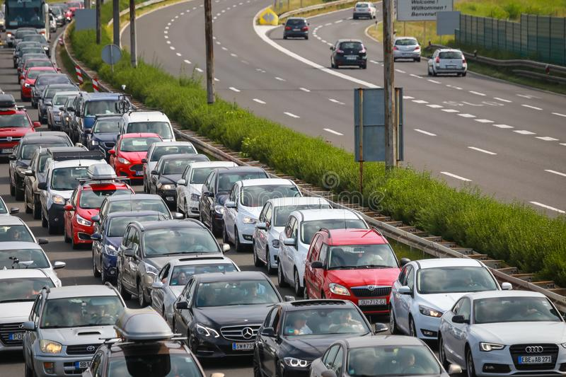Traffic jam. ZAGREB, CROATIA - August 11th, 2018 : Big traffic jam due to the large number of tourists going to the sea coast of Croatia in the Lucko highway stock photos