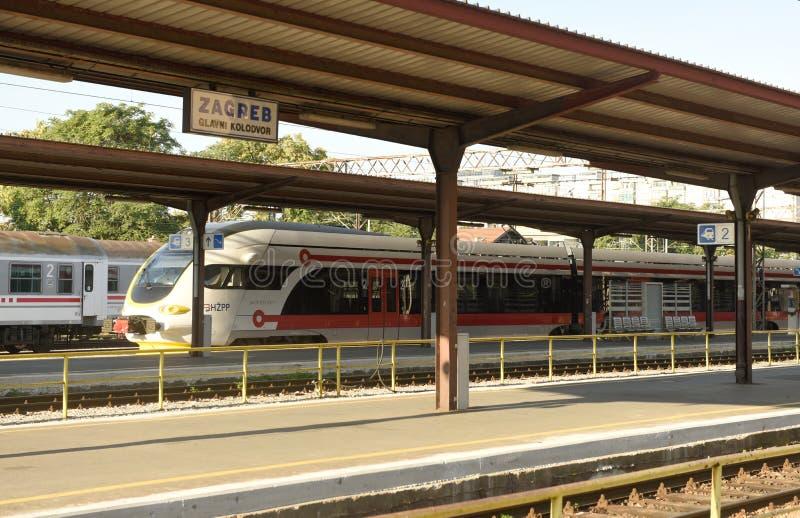 Zagreb, Croatia - August 18, 2017: Train on the Zagreb main rail. Way station Zagreb Glavni kolodvor royalty free stock image
