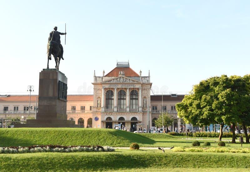 Zagreb, Croatia - August 18, 2017: Zagreb main train station building and Statue of King Tomislav (Zagreb Glavni kolodvor). Zagreb, Croatia - August 18, 2017 royalty free stock photo