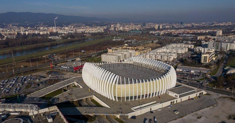 Zagreb Croatia December 30 2019 Arena Zagreb In Zagreb Capital Of Croatia The Largest Sports Hall In Croatia Cityscape In Stock Image Image Of Drone Dome 169262861