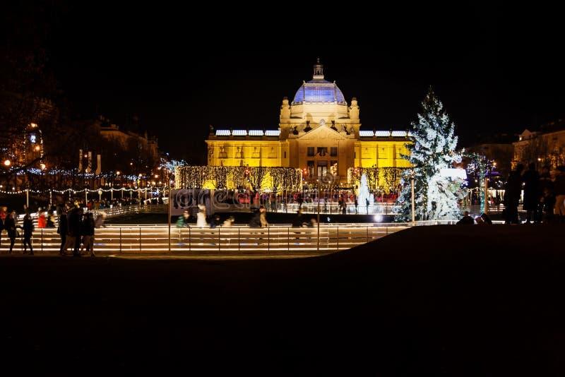 Zagreb, Croatia: Decemer 30 2015: Ice skating rink at Pavillion at night royalty free stock images