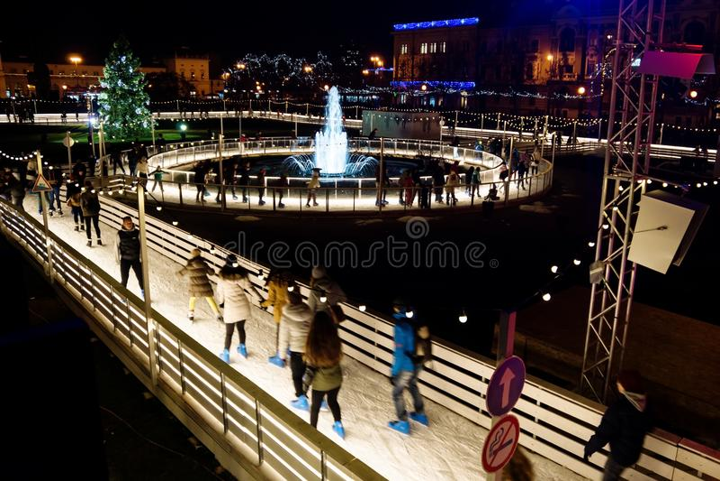 Zagreb, Croatia: Decemer 30 2015: Ice skating rink at Ledeni Park at night royalty free stock photos