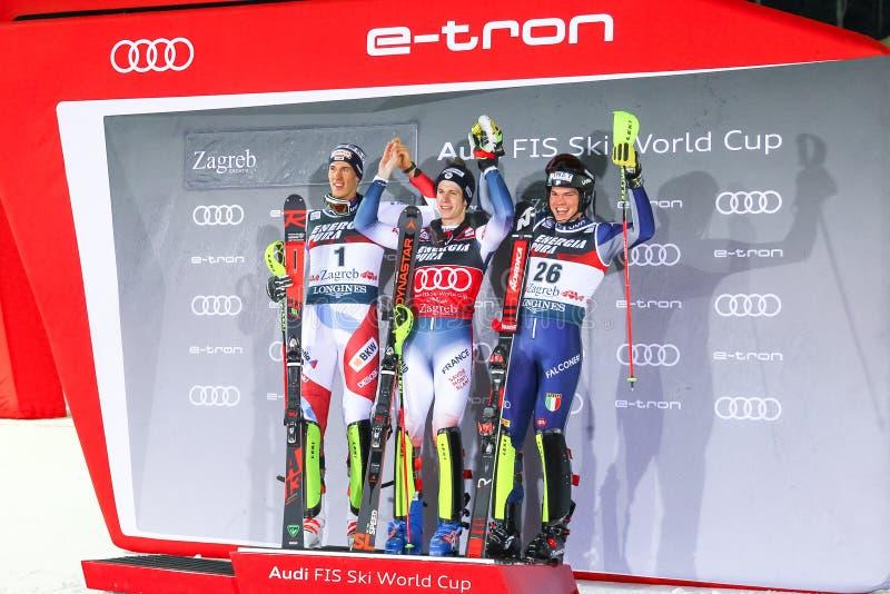 Snow Queen Trophy 2020 Mens Slalom Award ceremony stock photos