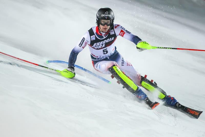 Audi Fis Ski World Cup 2020 Mens Slalom 2nd run stock photo