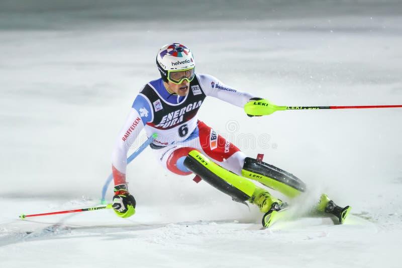 Audi Fis Ski World Cup 2020 Mens Slalom 2nd run royalty free stock image