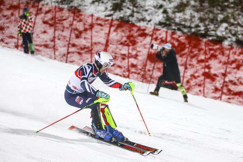 Audi Fis Ski World Cup 2020 Mens Slalom 2nd run. Zagreb, Croatia - January 5, 2020 : Dave Ryding from United Kingdom competing on the 2nd run during the Audi FIS royalty free stock images