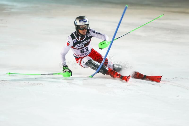 Audi Fis Ski World Cup 2020 Mens Slalom 2nd run. Zagreb, Croatia - January 5, 2020 : Fabio Gstrein from Austria competing on the 2nd run during the Audi FIS stock photography