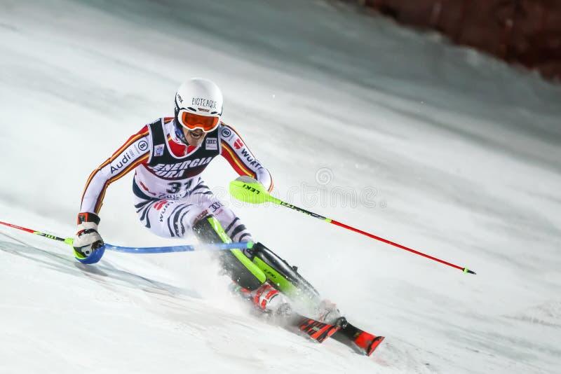 Audi Fis Ski World Cup 2020 Mens Slalom 2nd run royalty free stock photo