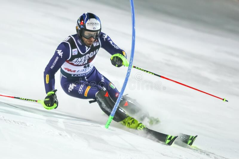 Audi Fis Ski World Cup 2020 Mens Slalom 2nd run royalty free stock images