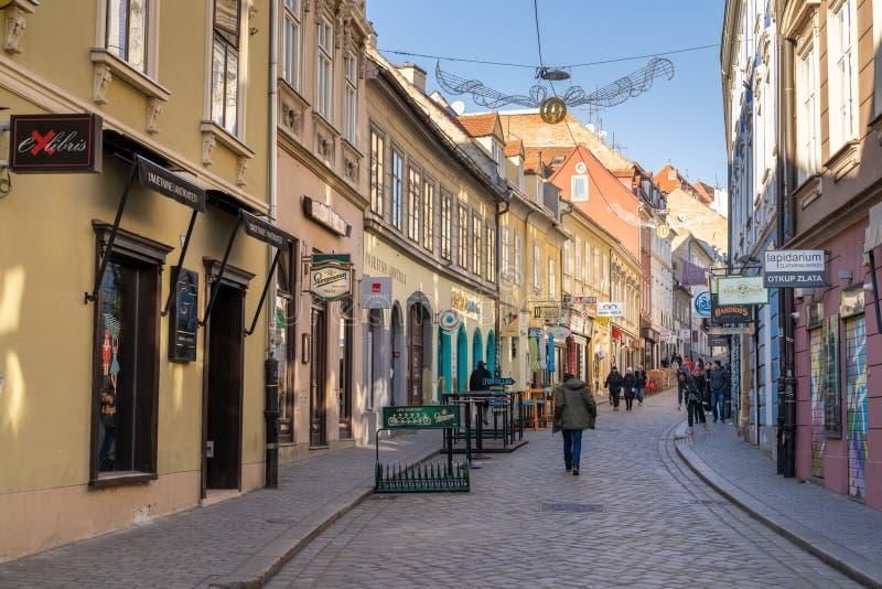 ZAGREB, CROATIA - JANUARY 06, 2020:  Old paved Radiceva street of Zagreb upper town, capital of Croatia royalty free stock photo