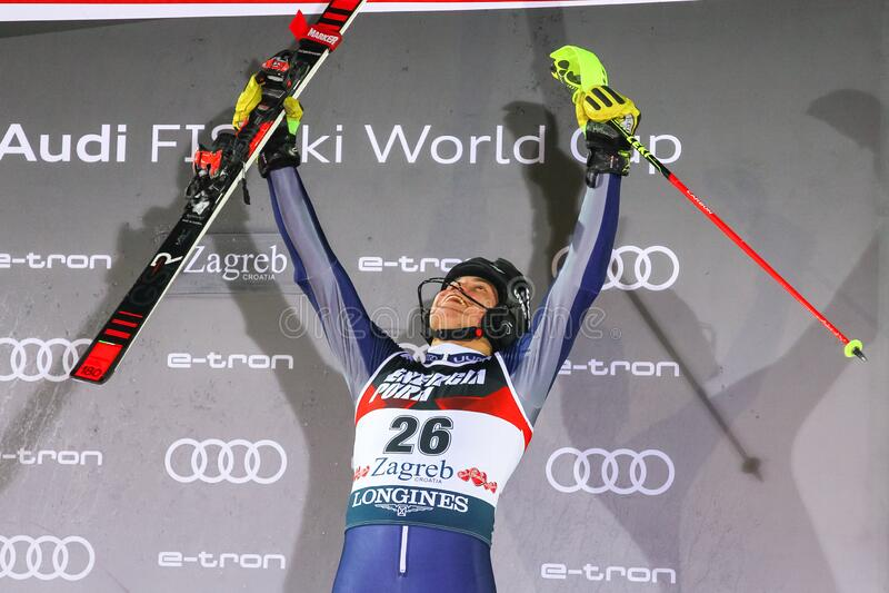 Snow Queen Trophy 2020 Mens Slalom Award ceremony royalty free stock photos
