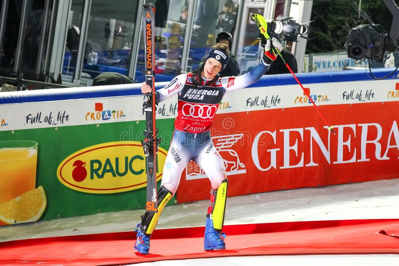 Snow Queen Trophy 2020 Mens Slalom Award ceremony stock image