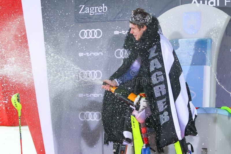 Snow Queen Trophy 2020 Mens Slalom Award ceremony royalty free stock photo