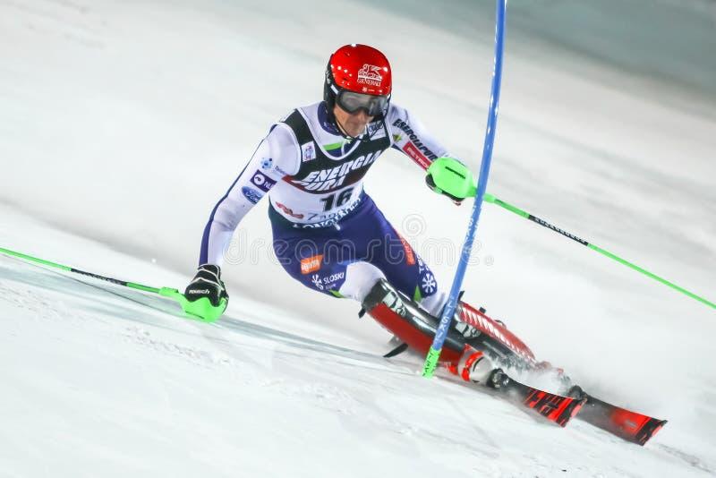 Audi Fis Ski World Cup 2020 Mens Slalom 2nd run stock photography
