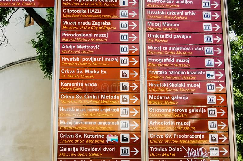 Zagreb, Croatia - June 10, 2019: Signs posts indicating the direction of tourist places of the medieval European city of Zagreb royalty free stock photography