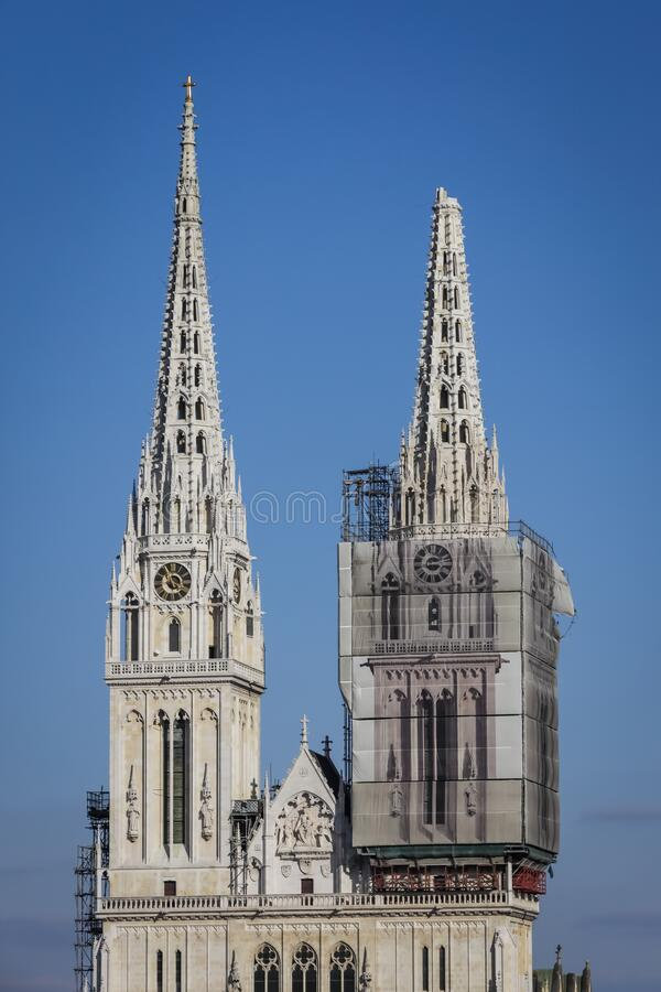 Zagreb hit by the earthquake damaged cathedral royalty free stock photos