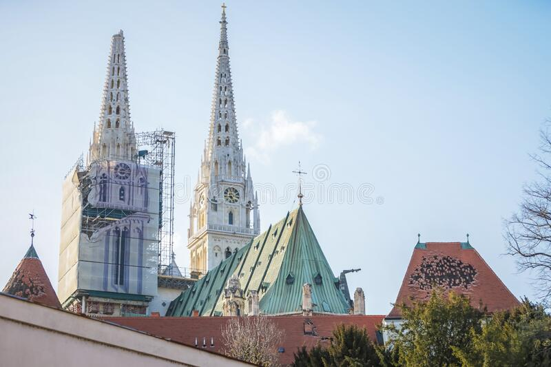 Zagreb hit by the earthquake damaged cathedral royalty free stock images