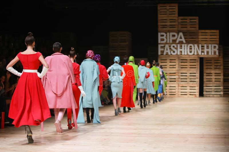 Twins fashion show. ZAGREB, CROATIA - OCTOBER 25, 2018 : Fashion models wearing clothes for autumn-winter, designed by Twins on the Bipa Fashion.hr fashion show stock images